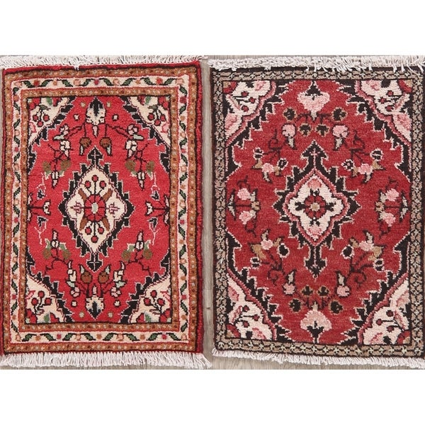 """Set of 2 Hamedan Oriental Hand Knotted Wool Persian Rugs - 2'0"""" x 1'6"""" Square"""