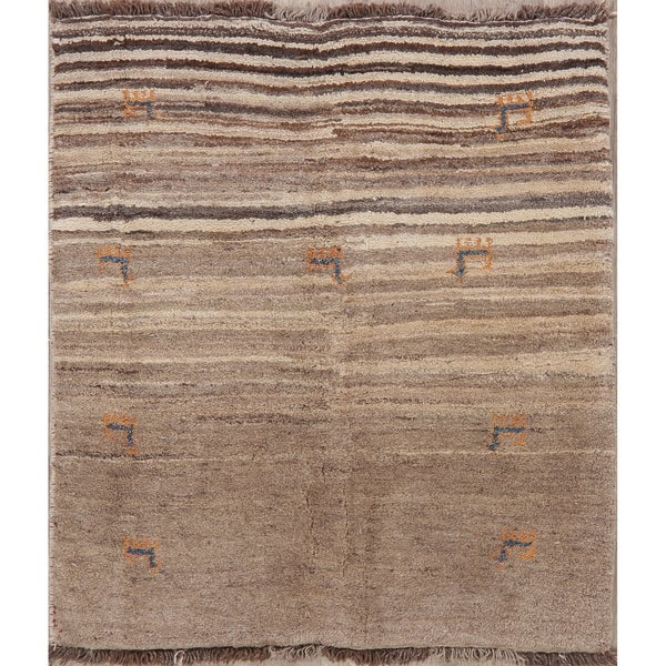"""Gabbeh Oriental Hand Knotted Wool Persian Tribal Area Rug - 4'8"""" x 3'9"""""""
