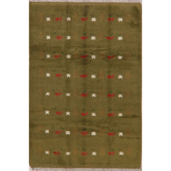 """Traditional Gabbeh Tribal Oriental Hand Knotted Wool Persian Area Rug - 7'7"""" x 5'1"""""""