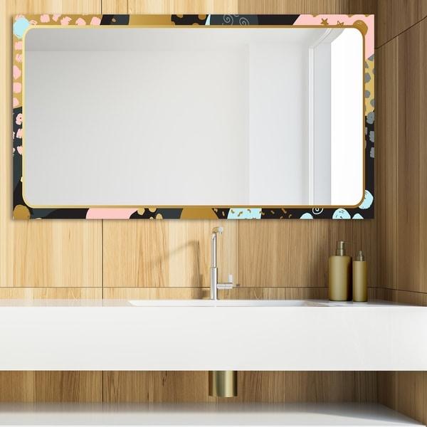 Designart 'Playful Gold 12' Glam Mirror - Modern Vanity Mirror - Multi