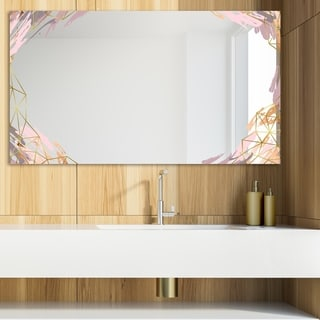 Designart 'Gold and Pink Frame 19' Glam Mirror - Modern Vanity Mirror - Multi