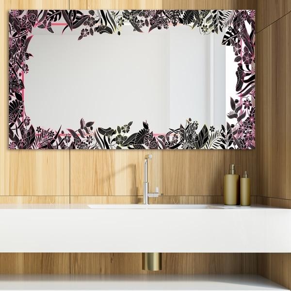 Designart 'Capital Gold Botanical Bliss 14' Glam Mirror - Modern Vanity Mirror - Black