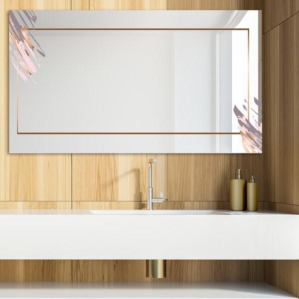 Designart 'Copper Minimal 10' Glam Mirror - Modern Vanity Mirror - Brown