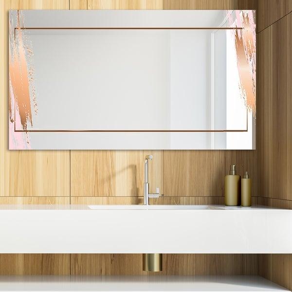 Designart 'Copper Minimal 13' Glam Mirror - Modern Vanity Mirror - Brown