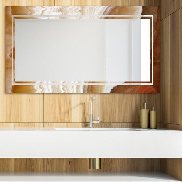 Designart 'Marbled Geode 20' Glam Mirror - Modern Vanity Mirror - Brown