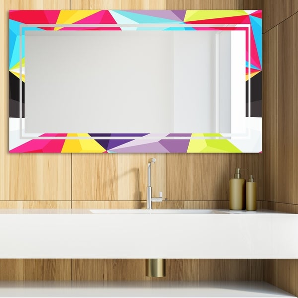 Designart 'Capricious Colorfields 4' Glam Mirror - Modern Vanity Mirror - Multi
