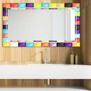 Designart 'Capricious Colorfields 5' Glam Mirror - Modern Vanity Mirror - Multi