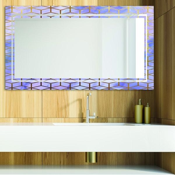 Designart 'Capital Gold Honeycomb 13' Glam Mirror - Modern Vanity Mirror - Blue