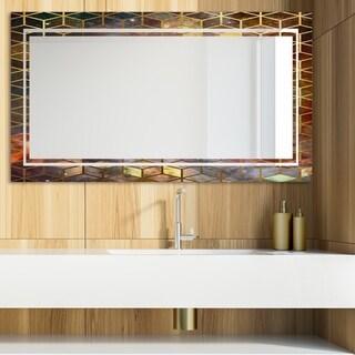 Designart 'Capital Gold Honeycomb 17' Glam Mirror - Modern Vanity Mirror - Multi