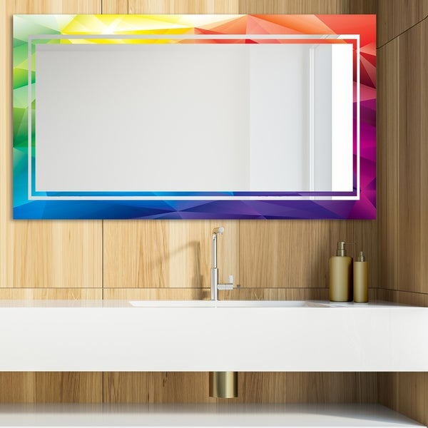 Designart 'Triangular Colourfields 44' Glam Mirror - Modern Vanity Mirror - Blue