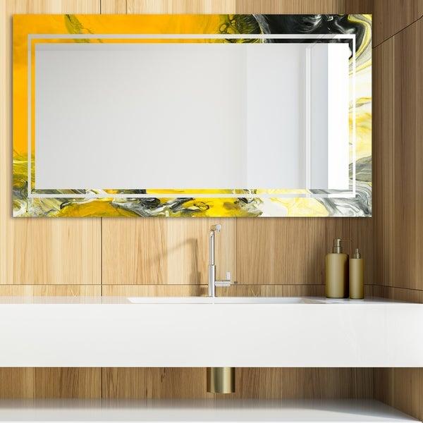 Designart 'Marbled Yellow 15' Glam Mirror - Modern Vanity Mirror - Multi