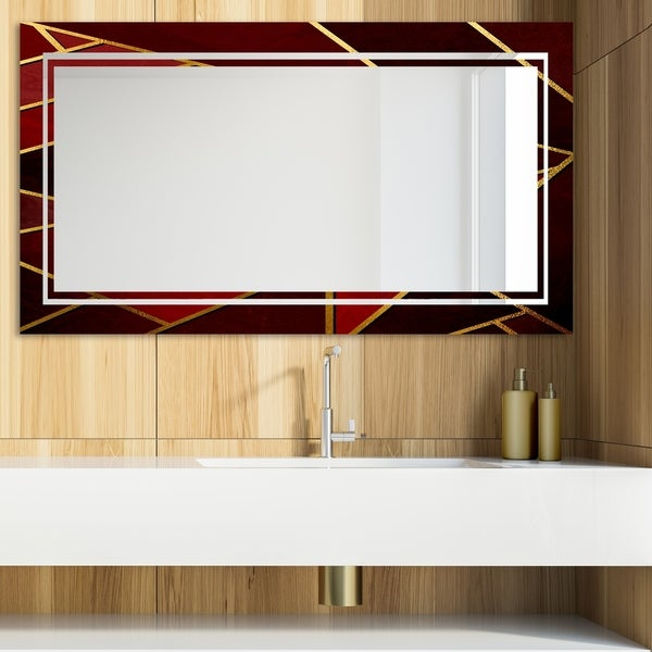 Designart 'Capital Gold Honeycomb 20' Glam Mirror - Modern Vanity Mirror - Multi