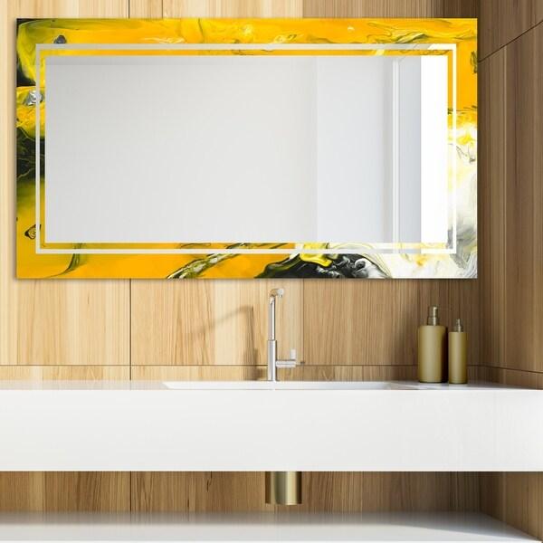 Designart 'Marbled Yellow 11' Glam Mirror - Modern Vanity Mirror - Gold