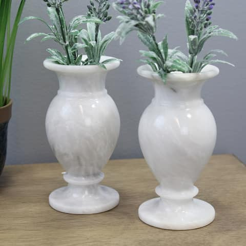 """Natural Geo White Decorative Handcrafted 6"""" Marble Vase (Set of 2)"""