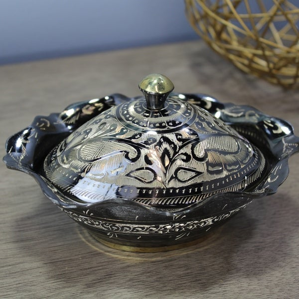 Natural Geo Decorative Black/Gold Brass Pot Oval Bowl with Lid