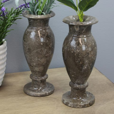 "Natural Geo Gray Decorative Handcrafted 8"" Marble Vase (Set of 2)"