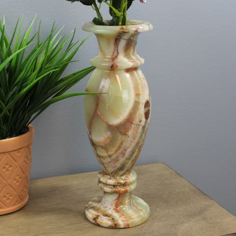 """Natural Geo Multicolored Decorative Handcrafted 12"""" Onyx Vase"""