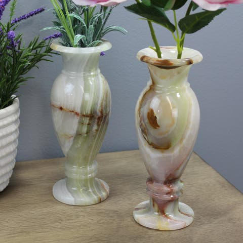 """Natural Geo Decorative Handcrafted 8"""" Onyx Vase (Set of 2)"""