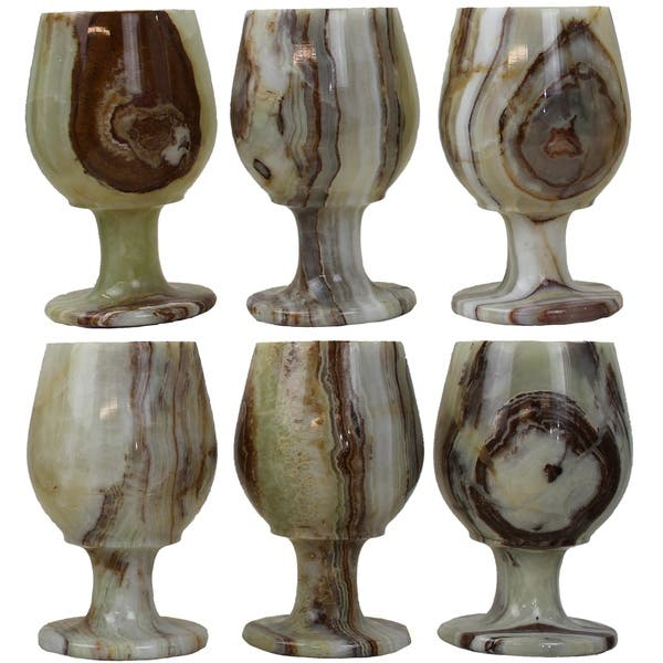 1 Handmade Onyx Stone Wine Glasses 6 Pieces Set with Blue Original Case from Pakistan for Dinner Table  Living Room Kitchen Barware