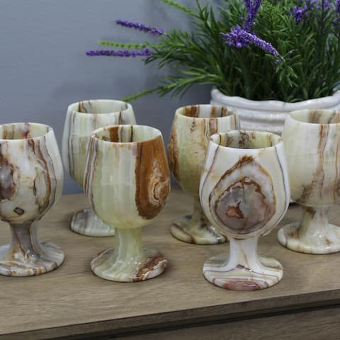 Natural Geo Decorative Handcrafted Onyx Wine Glass (Set of 6)