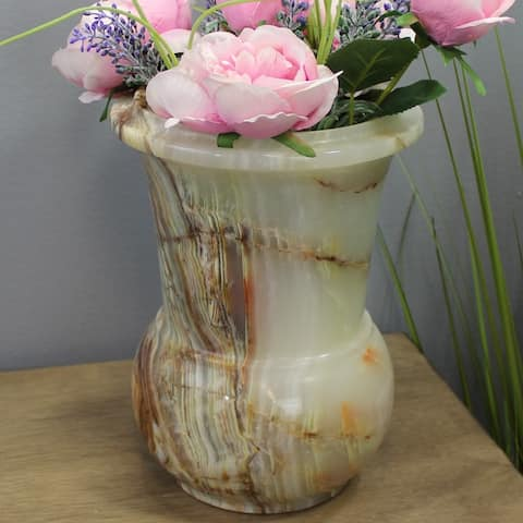 """Natural Geo Multicolored Decorative Handcrafted 10"""" Onyx Flower Pot"""