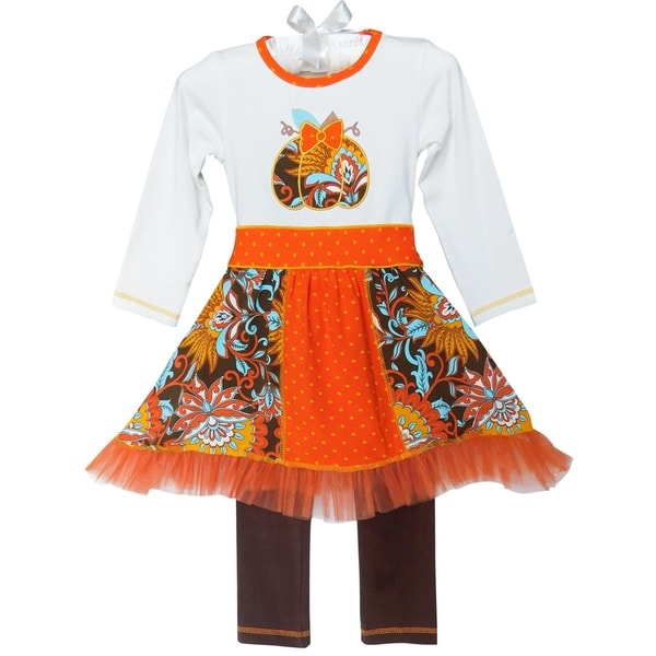 a2c08119c6847 AnnLoren Girls Boutique Thanksgiving Autumn Pumpkin Dress Outfit