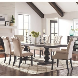 French Baroque Designed Dining Set with Rolled Button Tufted Chairs