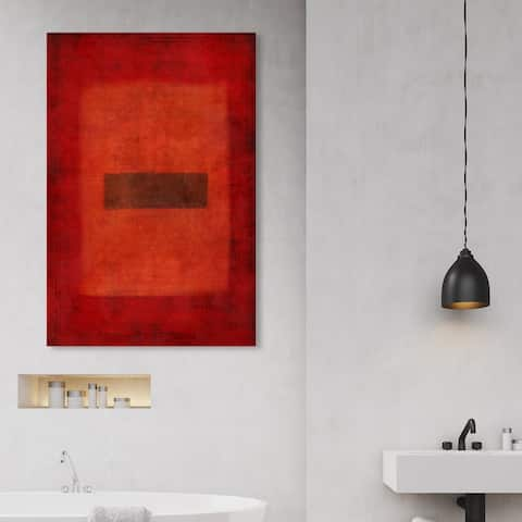Oliver Gal 'One Dark in Red' Abstract Wall Art Canvas Print - Red, Gray