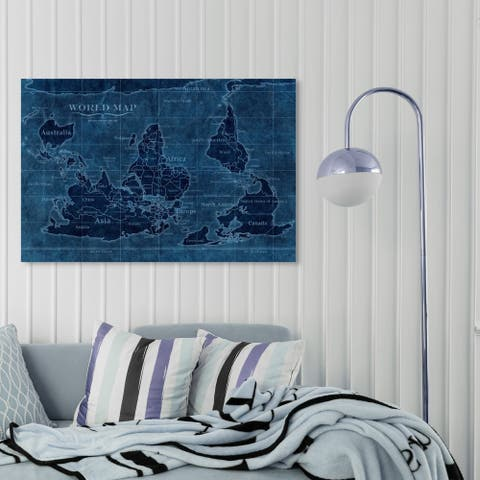 Oliver Gal 'Upside-Down Map of the World' Maps and Flags Wall Art Canvas Print - Blue