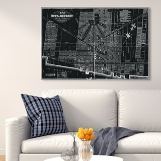 Oliver Gal 'Detroit Map 1835' Maps and Flags Wall Art Canvas Print - Black, White