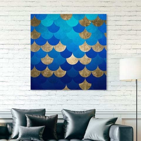 Oliver Gal 'Mermaid Scales' Abstract Wall Art Canvas Print - Blue, Gold