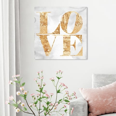 Oliver Gal 'Build On Love Miami' Typography and Quotes Wall Art Canvas Print - Gold, Gray