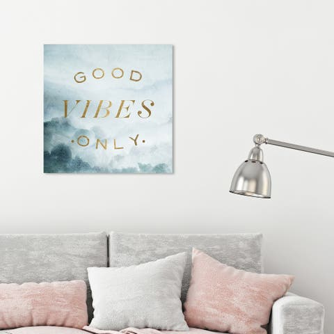 Oliver Gal 'Good Vibes Only' Typography and Quotes Wall Art Canvas Print - Gold, Green