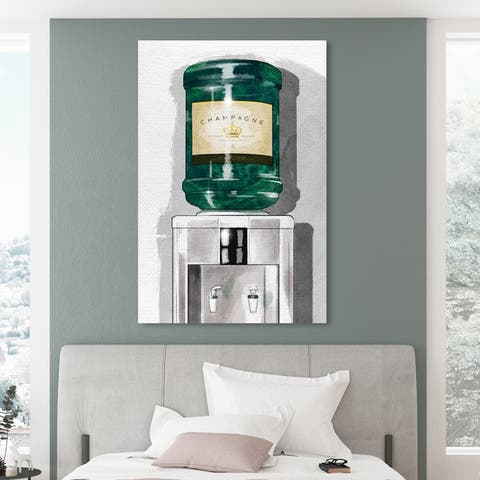 Oliver Gal 'All About the Champagne' Drinks and Spirits Wall Art Canvas Print - Green, Gray