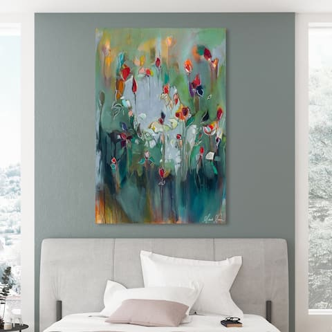 Oliver Gal 'Michaela Nessim - pale blue influence 2' Abstract Wall Art Canvas Print - Green, Red