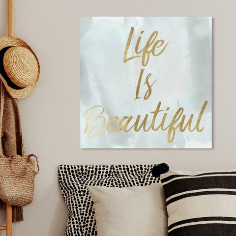 Oliver Gal 'Life is Beautiful Smokey' Typography and Quotes Wall Art Canvas Print - Gold, White