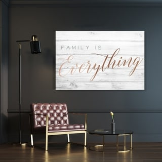 Oliver Gal 'Family is Everything' Typography and Quotes Wall Art Canvas Print - Bronze, Gray