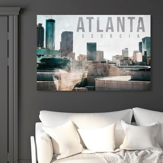 Oliver Gal 'Atlanta Landscape' Cities and Skylines Wall Art Canvas Print - Blue, White
