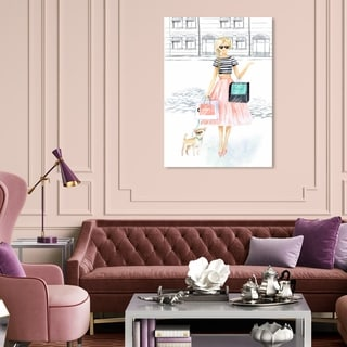 Oliver Gal 'Glam Girl de paseo' Fashion and Glam Wall Art Canvas Print - Pink, Blue