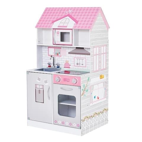 Teamson Kids - Wonderland Ariel 2 in 1 Doll House & Play Kitchen - Pink / Grey