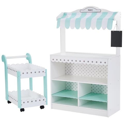 Teamson Kids - My Dream Bakery shop Dessert Stand - White / Petrol - White / Petrol