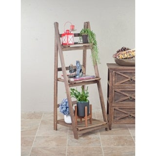 Wood Ladder Plant Stand 3-Tier Collapsible Shelf Flower Display Shelves