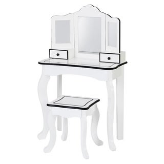 "Teamson Kids - Little Lady Adriana Play Vanity Set - Vanity table :23.5x12x39""/Vanity stool:12x10.75x14"""