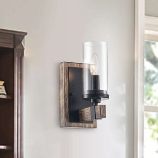 Link to Alfreda 1 Light Antique Black Iron Wood Wall Sconce with Clear Glass Similar Items in Bathroom Vanity Lights
