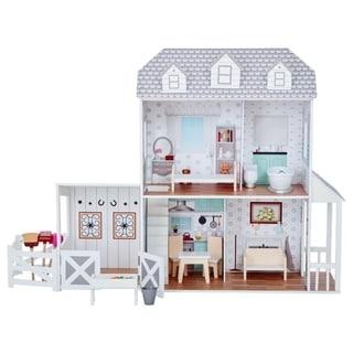 "Teamson Kids - Dreamland Farm house 12"" Doll House - White / Grey"