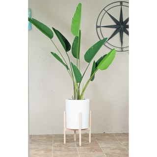 "Large Tall White Ceramic Pot 12"" with Wood Stand Natural Color"