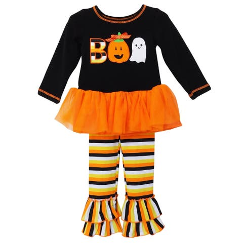 AnnLoren Girls Boo Halloween Tunic & Striped Pants Outfit