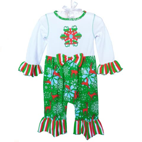AnnLoren Baby Girls Boutique Red Christmas Tree Holiday Romper
