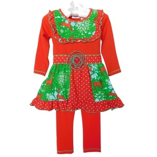 Link to AnnLoren Girls Christmas Panel Dress and Leggings Set Similar Items in Girls' Clothing
