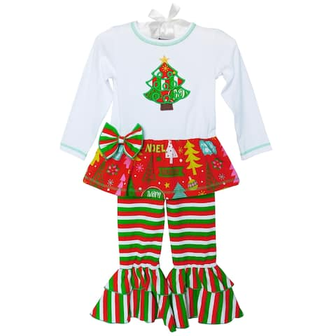 AnnLoren Christmas Tunic & Stripped Ruffle Leggings Set